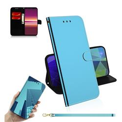 Shining Mirror Like Surface Leather Wallet Case for Sony Xperia 5 / Xperia XZ5 - Blue
