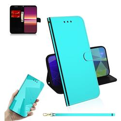 Shining Mirror Like Surface Leather Wallet Case for Sony Xperia 5 / Xperia XZ5 - Mint Green