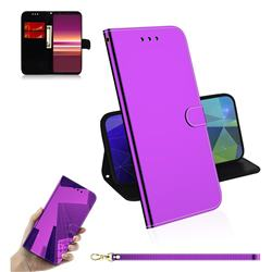 Shining Mirror Like Surface Leather Wallet Case for Sony Xperia 5 / Xperia XZ5 - Purple