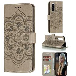 Intricate Embossing Datura Solar Leather Wallet Case for Sony Xperia 5 / Xperia XZ5 - Gray