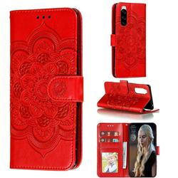 Intricate Embossing Datura Solar Leather Wallet Case for Sony Xperia 5 / Xperia XZ5 - Red