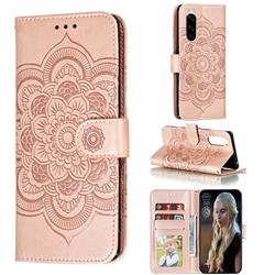 Intricate Embossing Datura Solar Leather Wallet Case for Sony Xperia 5 / Xperia XZ5 - Rose Gold