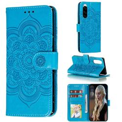 Intricate Embossing Datura Solar Leather Wallet Case for Sony Xperia 5 / Xperia XZ5 - Blue