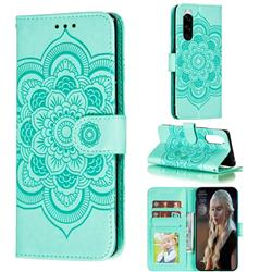 Intricate Embossing Datura Solar Leather Wallet Case for Sony Xperia 5 / Xperia XZ5 - Green