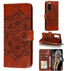 Intricate Embossing Datura Solar Leather Wallet Case for Sony Xperia 5 / Xperia XZ5 - Brown