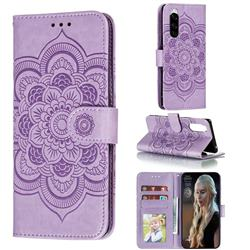 Intricate Embossing Datura Solar Leather Wallet Case for Sony Xperia 5 / Xperia XZ5 - Purple