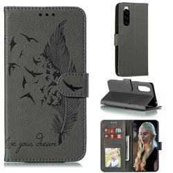 Intricate Embossing Lychee Feather Bird Leather Wallet Case for Sony Xperia 5 / Xperia XZ5 - Gray