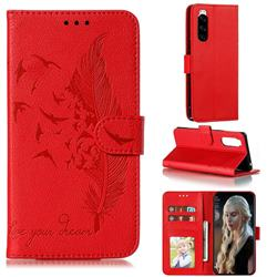 Intricate Embossing Lychee Feather Bird Leather Wallet Case for Sony Xperia 5 / Xperia XZ5 - Red