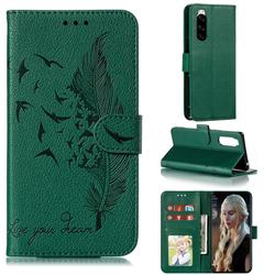 Intricate Embossing Lychee Feather Bird Leather Wallet Case for Sony Xperia 5 / Xperia XZ5 - Green