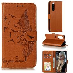 Intricate Embossing Lychee Feather Bird Leather Wallet Case for Sony Xperia 5 / Xperia XZ5 - Brown