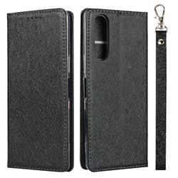 Ultra Slim Magnetic Automatic Suction Silk Lanyard Leather Flip Cover for Sony Xperia 5 / Xperia XZ5 - Black