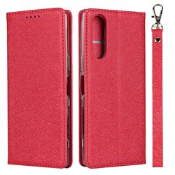 Ultra Slim Magnetic Automatic Suction Silk Lanyard Leather Flip Cover for Sony Xperia 5 / Xperia XZ5 - Red
