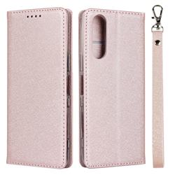 Ultra Slim Magnetic Automatic Suction Silk Lanyard Leather Flip Cover for Sony Xperia 5 / Xperia XZ5 - Rose Gold