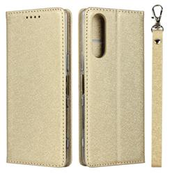 Ultra Slim Magnetic Automatic Suction Silk Lanyard Leather Flip Cover for Sony Xperia 5 / Xperia XZ5 - Golden