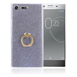 Luxury Soft TPU Glitter Back Ring Cover with 360 Rotate Finger Holder Buckle for Sony Xperia XZ Premium XZP - Black