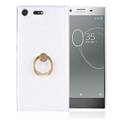 Luxury Soft TPU Glitter Back Ring Cover with 360 Rotate Finger Holder Buckle for Sony Xperia XZ Premium XZP - White