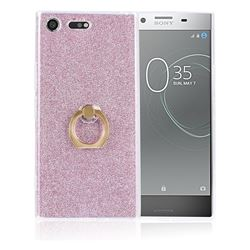 Luxury Soft TPU Glitter Back Ring Cover with 360 Rotate Finger Holder Buckle for Sony Xperia XZ Premium XZP - Pink