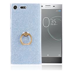 Luxury Soft TPU Glitter Back Ring Cover with 360 Rotate Finger Holder Buckle for Sony Xperia XZ Premium XZP - Blue