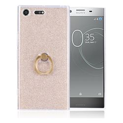 Luxury Soft TPU Glitter Back Ring Cover with 360 Rotate Finger Holder Buckle for Sony Xperia XZ Premium XZP - Golden