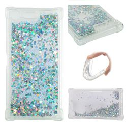 Dynamic Liquid Glitter Sand Quicksand Star TPU Case for Sony Xperia XZ Premium XZP - Silver
