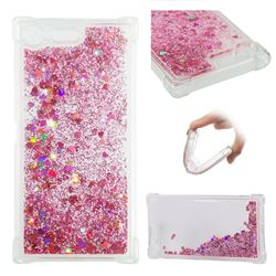 Dynamic Liquid Glitter Sand Quicksand Star TPU Case for Sony Xperia XZ Premium XZP - Diamond Rose