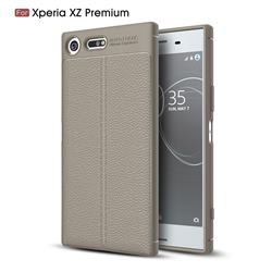 Luxury Auto Focus Litchi Texture Silicone TPU Back Cover for Sony Xperia XZ Premium XZP - Gray