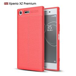 Luxury Auto Focus Litchi Texture Silicone TPU Back Cover for Sony Xperia XZ Premium XZP - Red