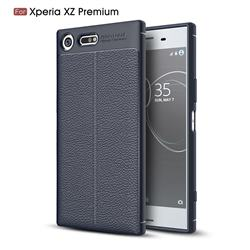 Luxury Auto Focus Litchi Texture Silicone TPU Back Cover for Sony Xperia XZ Premium XZP - Dark Blue