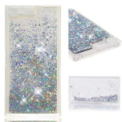 Dynamic Liquid Glitter Quicksand Sequins TPU Phone Case for Sony Xperia XZ Premium XZP - Silver