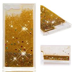 Dynamic Liquid Glitter Quicksand Sequins TPU Phone Case for Sony Xperia XZ Premium XZP - Golden