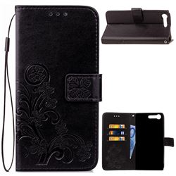 Embossing Imprint Four-Leaf Clover Leather Wallet Case for Sony Xperia XZ Premium XZP - Black