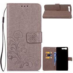 Embossing Imprint Four-Leaf Clover Leather Wallet Case for Sony Xperia XZ Premium XZP - Grey