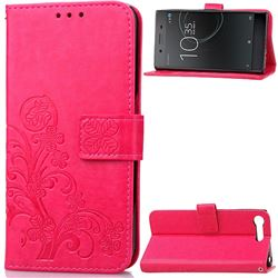 Embossing Imprint Four-Leaf Clover Leather Wallet Case for Sony Xperia XZ Premium XZP - Rose