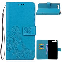Embossing Imprint Four-Leaf Clover Leather Wallet Case for Sony Xperia XZ Premium XZP - Blue
