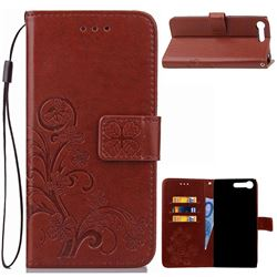 Embossing Imprint Four-Leaf Clover Leather Wallet Case for Sony Xperia XZ Premium XZP - Brown
