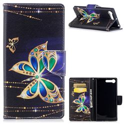 Golden Shining Butterfly Leather Wallet Case for Sony Xperia XZ Premium XZP