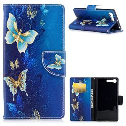 Golden Butterflies Leather Wallet Case for Sony Xperia XZ Premium XZP