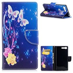 Yellow Flower Butterfly Leather Wallet Case for Sony Xperia XZ Premium XZP