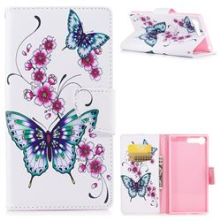 Peach Butterflies Leather Wallet Case for Sony Xperia XZ Premium XZP