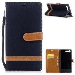 Jeans Cowboy Denim Leather Wallet Case for Sony Xperia XZ Premium XZP - Black