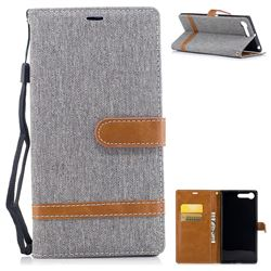 Jeans Cowboy Denim Leather Wallet Case for Sony Xperia XZ Premium XZP - Gray