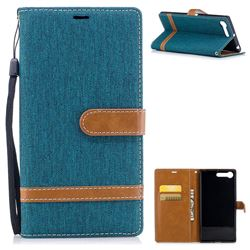 Jeans Cowboy Denim Leather Wallet Case for Sony Xperia XZ Premium XZP - Green