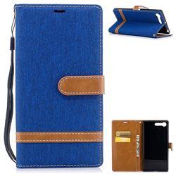Jeans Cowboy Denim Leather Wallet Case for Sony Xperia XZ Premium XZP - Sapphire