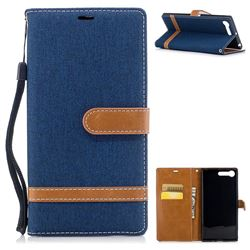 Jeans Cowboy Denim Leather Wallet Case for Sony Xperia XZ Premium XZP - Dark Blue