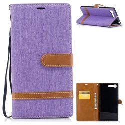 Jeans Cowboy Denim Leather Wallet Case for Sony Xperia XZ Premium XZP - Purple