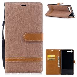 Jeans Cowboy Denim Leather Wallet Case for Sony Xperia XZ Premium XZP - Brown