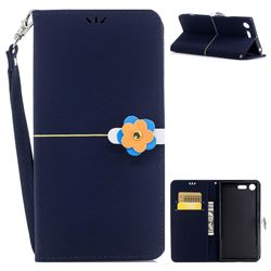 Gold Velvet Smooth PU Leather Wallet Case for Sony Xperia XZ Premium XZP - Navy Blue