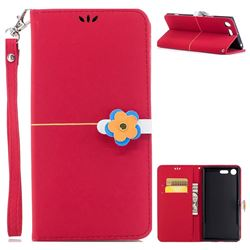 Gold Velvet Smooth PU Leather Wallet Case for Sony Xperia XZ Premium XZP - Red