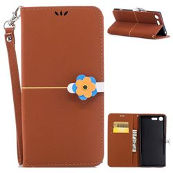 Gold Velvet Smooth PU Leather Wallet Case for Sony Xperia XZ Premium XZP - Brown