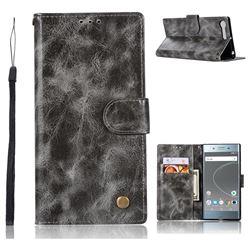 Luxury Retro Leather Wallet Case for Sony Xperia XZ Premium XZP - Gray
